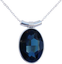 DragonWeave Sapphire Blue Swarovski Crystal Oval Pendant on 18' 2mm Silv... - $79.39