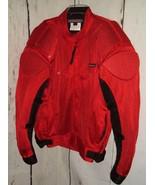 MOTOBOSS Motorcycle Jacket Men's XL Armor BLACK/RED Scotchlite 3M - $69.27