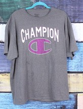 Champion Men's XL Gray White Purple Spell Out Logo Graphic T-Shirt Tee Shirt - $11.87