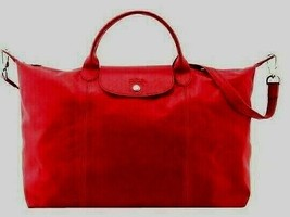 NWT! Longchamp 'Le Pliage Cuir' Red Leather Top Handle Tote Xlarge Bag M... - $374.00