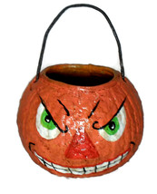 Vintage Halloween Reproduction Jack O Lantern Treat Pail Handmade  - £13.92 GBP