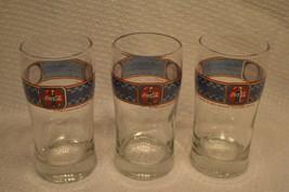 "3 RARE COKE GLASS. 5"" TALL. BLUE CHECKER PRINT   ANTIQUE COLLECTIBLE - $15.82"