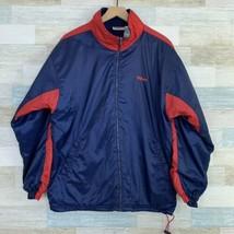 Wilson Advantage Windbreaker Jacket Fleece Lined Blue Red VTG 90s Mens L... - $45.53