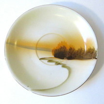 Vtg Fall Forest Lakeside Saucer Marked Made in Shofu Japan Golden Brown ... - $10.00