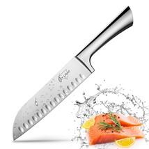 Santoku Knife Kitchen Knife Japanese Sushi Knife, 7 Inch Hollow Edge Blade  - $22.77