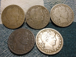 LOT OF 5 BARBER QUARTERS 1898, 1899-O, 1899, 1902 & 1908 - 90% SILVER - $28.99