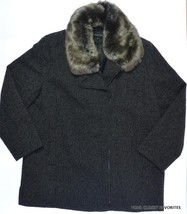 Jones New York Womens 2X Wool Blend Faux Fur Collar Asymmetrical Zip Twe... - $91.60