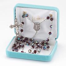 Sterling Silver Rosary made with Round Garnet Swarovski Crystals - $199.12