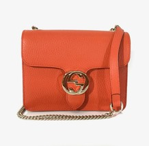 GUCCI 510304 Interlocking Orange Leather Chain Crossbody Bag - $828.00