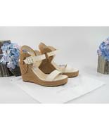 Jimmy Choo Delphi Latte Leather Espadrille Wedge Platform Sandals 39.5 9... - $291.56