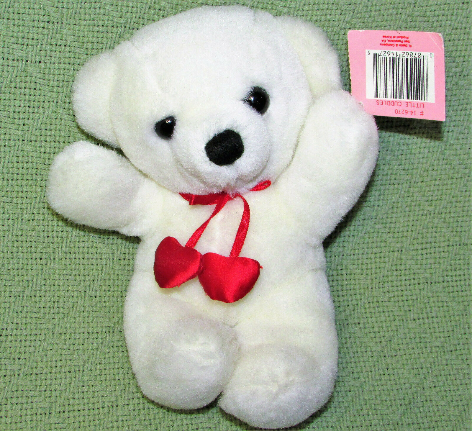 "VINTAGE DAKIN CUDDLES WHITE TEDDY BEAR 1979 7"" STUFFED ANIMAL TAG RED HEARTS BOW - $29.70"