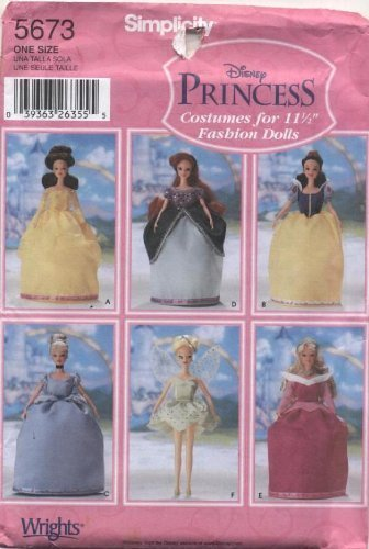 "Primary image for Simplicity Disney Princess Costumes for 11 1/2"" Fashion Dolls Sewing Pattern #56"