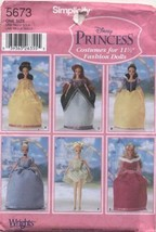 "Simplicity Disney Princess Costumes for 11 1/2"" Fashion Dolls Sewing Pat... - $27.93"