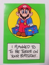 """Vintage Super Mario Brothers Greeting Card Nintendo 1989 """"Took the Wrong Flight"""" - $9.99"""