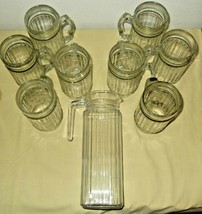"""Vintage Tall Pitcher France Square Glass 9 1/2"""" set of 8 Matching Glasse... - $49.99"""