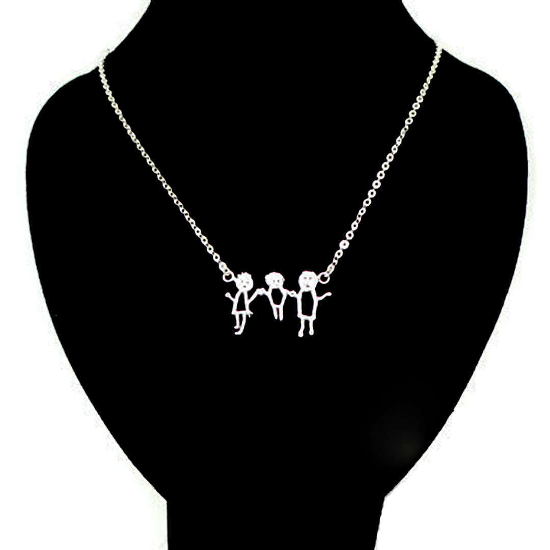 Silver Personalized Kid Art Drawling Necklace Choker  image 2