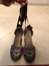 "EUC Marc by Marc Jacobs Wedge Espadrilles ""Rossimoda"" Taffeta Lame SZ 37 - $74.25"
