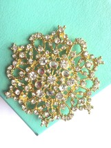 Silver Or Gold Tone Wedding Bridal Rhinestone Crystal Flower Brooch Pin ... - $9.99