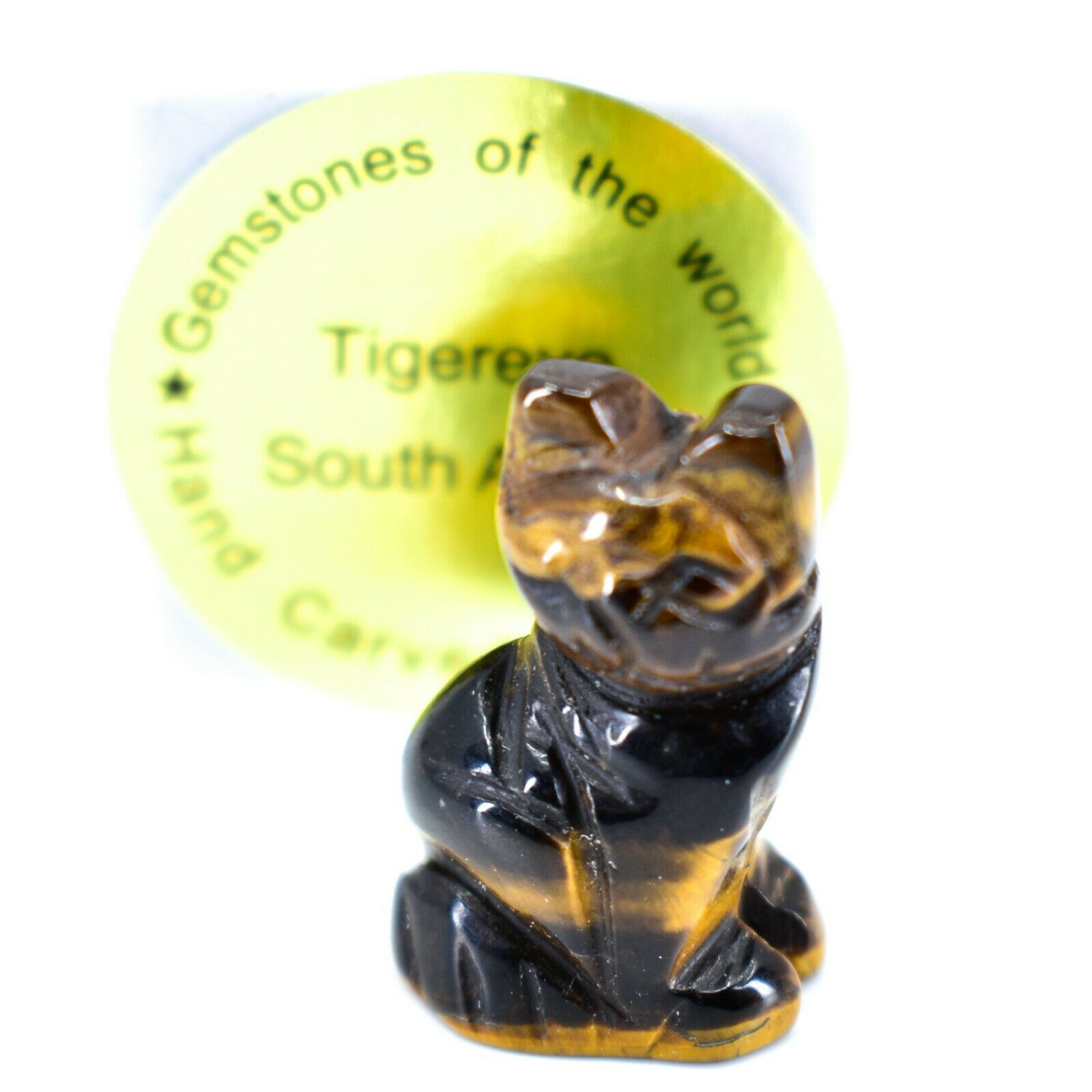 Tiger's Eye Gemstone Tiny Miniature Kitty Cat Figurine Hand Carved in China