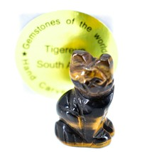 Tiger's Eye Gemstone Tiny Miniature Kitty Cat Figurine Hand Carved in China image 1