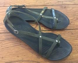 Crocs Sandals Size 8 Women's Smoky Translucent Gray Metal Detailing (21) - $14.46