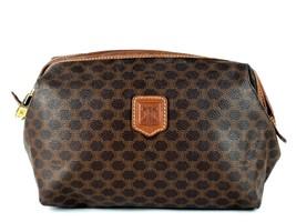 Auth CELINE MACADAM PVC Brown Leather Clutch Bag Cosmetics Pouch Bag Ita... - $98.01