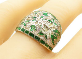 925 Silver - Vintage Green Enamel Floral Patterned Band Ring Sz 8 - R12450 - $26.25