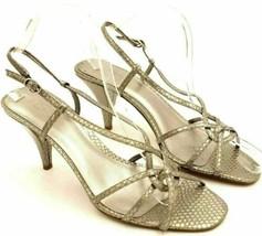 Ann Taylor Loft Women Slingback Heels Silver Snake Print Leather Size US 7.5M - $18.00