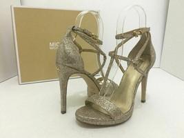 Michael Kors Simone Women's Evening High Heels Sandals Silver Sand Glitter 7 M image 2