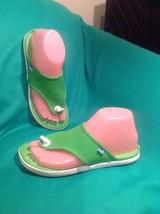 VINTAGE KEDS 7M CHAMPION WOMEN'S CANVAS GREEN THONG SANDALS SHOES DISPLAYS - $29.69