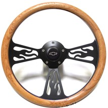Chevy Hot Rod, Rat Rod, Truck Steering Wheel Oak Wood Flames Design Black Billet - $144.99