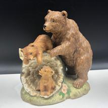 Grizzly Bear Figurine Kodiak Curious Cubs Homco Porcelain Sculpture Statue 1435 - $47.52