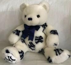 "Ty Beanie Buddy NY Yankee Pride Stuffed Plush Bear White with Blue Logo EUC 10"" - $10.88"