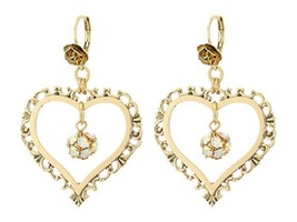 BETSEY JOHNSON THROWBACK LARGE LARGE HEART DROP EARRINGS NWT - $26.05