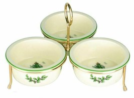 Spode Christmas Tree Set of 3 Nut Candy Bowls with Gold Metal Rack # 1625068 New - $75.74