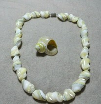 Vnt.50's Chunky Mother of Pearl Shell Beaded Necklace/Real MOP Shell Ring Set - $44.99