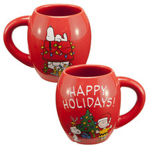 Peanuts Snoopy and Charlie Brown Happy Hollidays 18 ounce Oval Ceramic M... - $10.69