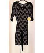 NEW $39 EMMA & MICHELE BLACK WHITE CHEVRON SHORT SLEEVE ELEGANT DRESS BE... - $11.99