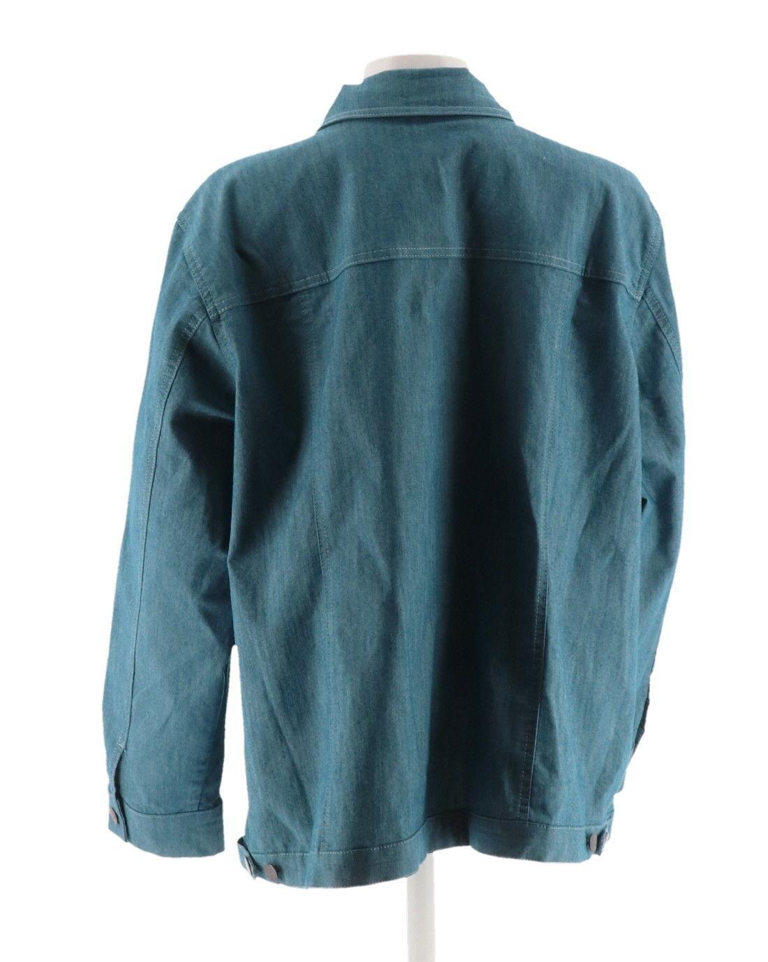 Denim & Co Stretch Colored Long Slv Jean Jacket Pockets Dark Teal L NEW A87003
