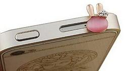 3.5mm Cell Phone Anti Dust Plug Cartoon Dust Plug Rabbit PINK 1 Pcs