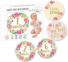 Baby Girl Monthly Milestone Stickers | Set of 20 Floral Gold Stickers | ... - $13.40