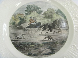 Currier and Ives ceramic wall cabinet plate life in the country horses c... - $19.99
