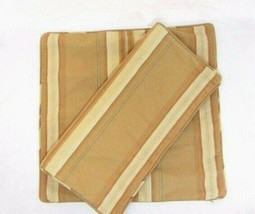Pottery Barn Harrison Stripe Bamboo/Tan 2-PC 20-inch Square Pillow Covers - $56.00