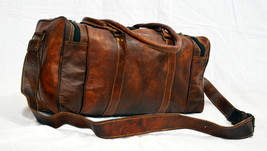 New Men's Brown Vintage Genuine Leather Cowhide Overnight Luggage Duffle... - $59.85+