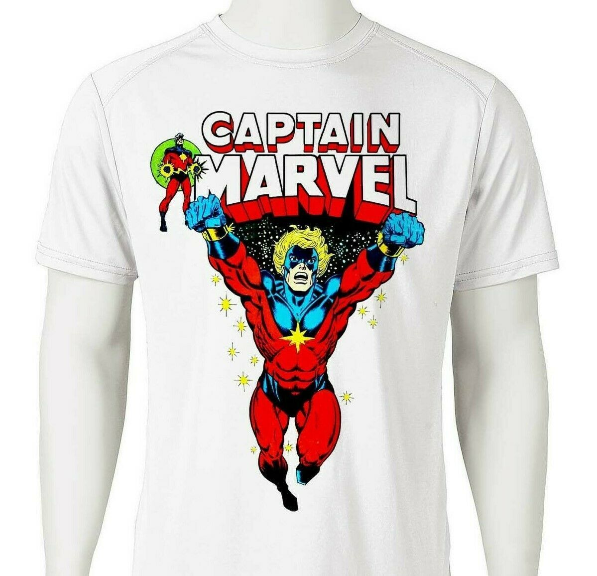 Captain Marvel Dri Fit graphic Tshirt superhero comic SPF sun shirt active tee