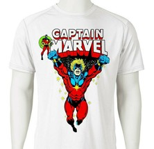 Captain Marvel Dri Fit graphic Tshirt superhero comic SPF sun shirt active tee image 1