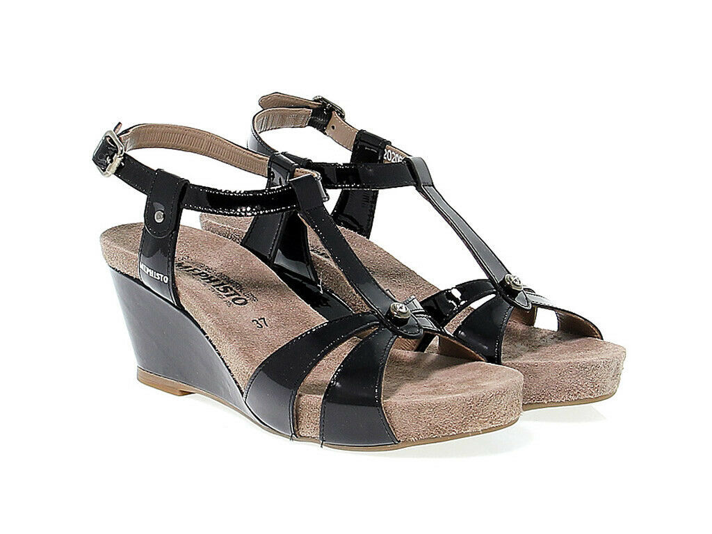 Heeled sandal MEPHISTO BRIANA in black leather - Women's Shoes