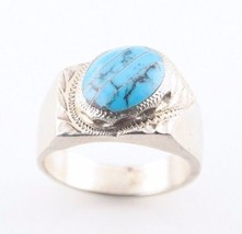 Vintage Mexican Sterling Silver Turquoise Ring (Size 12) Taxco Craftsman... - $133.65
