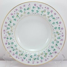 "Noritake Dorothea Rimmed Soup Bowl 8-1/8"" White w Shamrocks Gold Trim Mi... - $11.73"