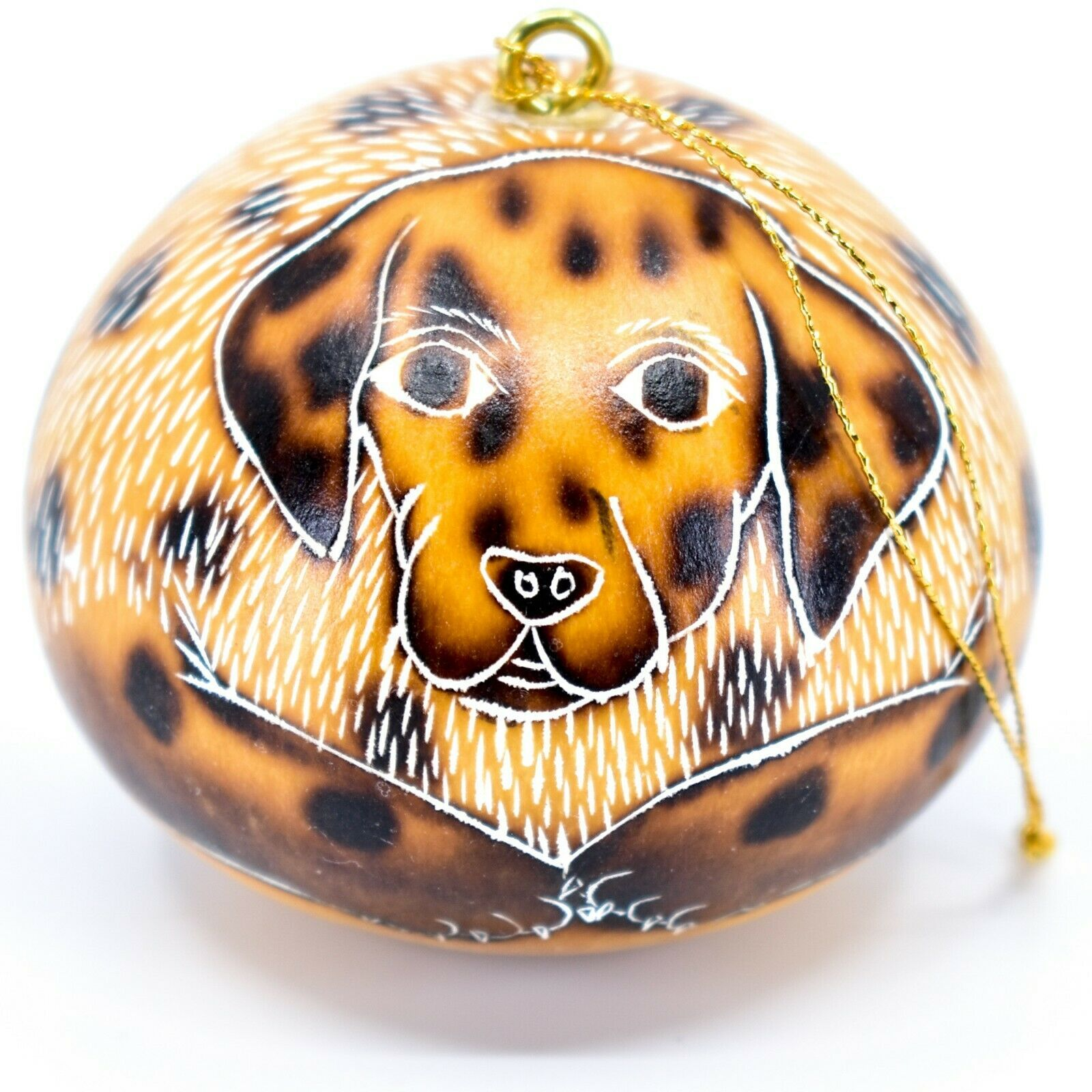 Handcrafted Carved Gourd Art Dalmatian Puppy Dog Ornament Handmade in Peru
